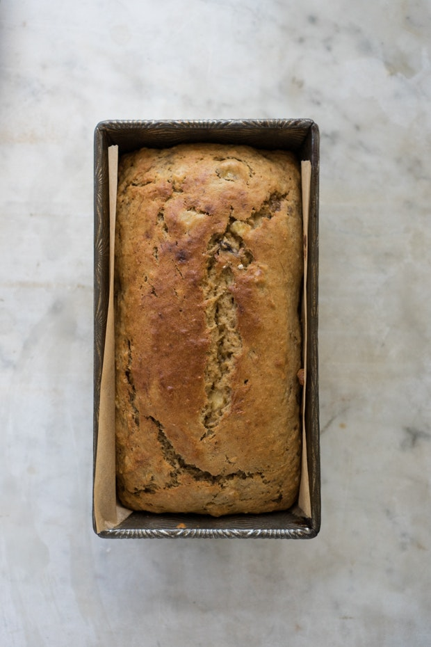 A recipe of banana bread with a bowl