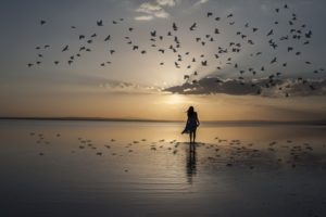 Woman walking on the beach at sunrise surrounded by bird sailing.