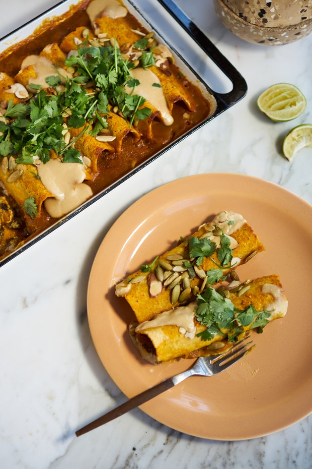Fast Vegan Enchiladas with sweet potato sauce