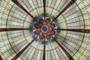 The dome is made of stained glass