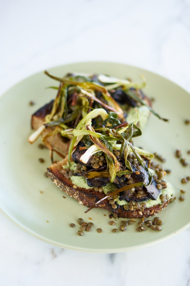 Scartion Mushroom Tartine with Poblano yoghurt