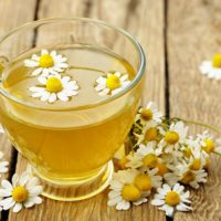 Chamomile tea cup with chamomile flowers