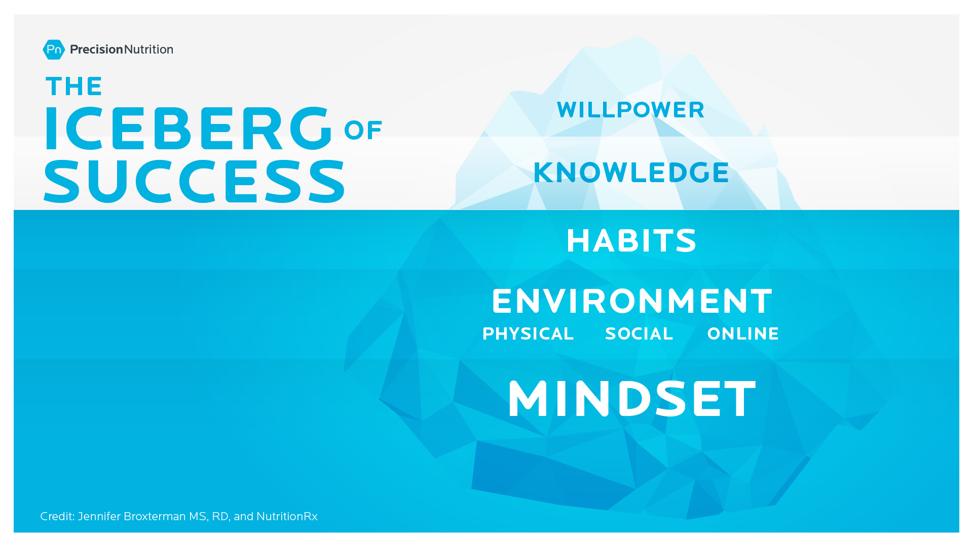 An illustration of the iceberg of success. The mentality, the environment, the habits are under the water and the knowledge and the will is above the water.
